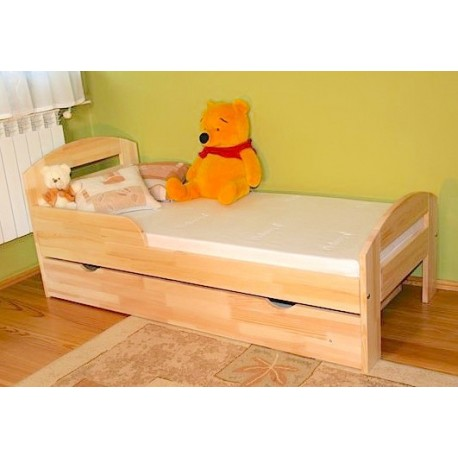 Lettino in legno di pino Timmy con cassetto 160x80 cm