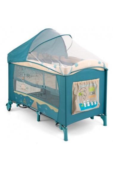 Milly Mally Lettino da campeggio con materassino fasciatoio Mirage Spiaggia  Blu