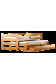 Letto scorrevole estraibile in legno massello con cassetto e materassi Pablo 160x80 cm