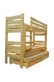 Letto a castello con estraibile in legno massello Gustavo 3 con materassi e cassetti 180x80 cm