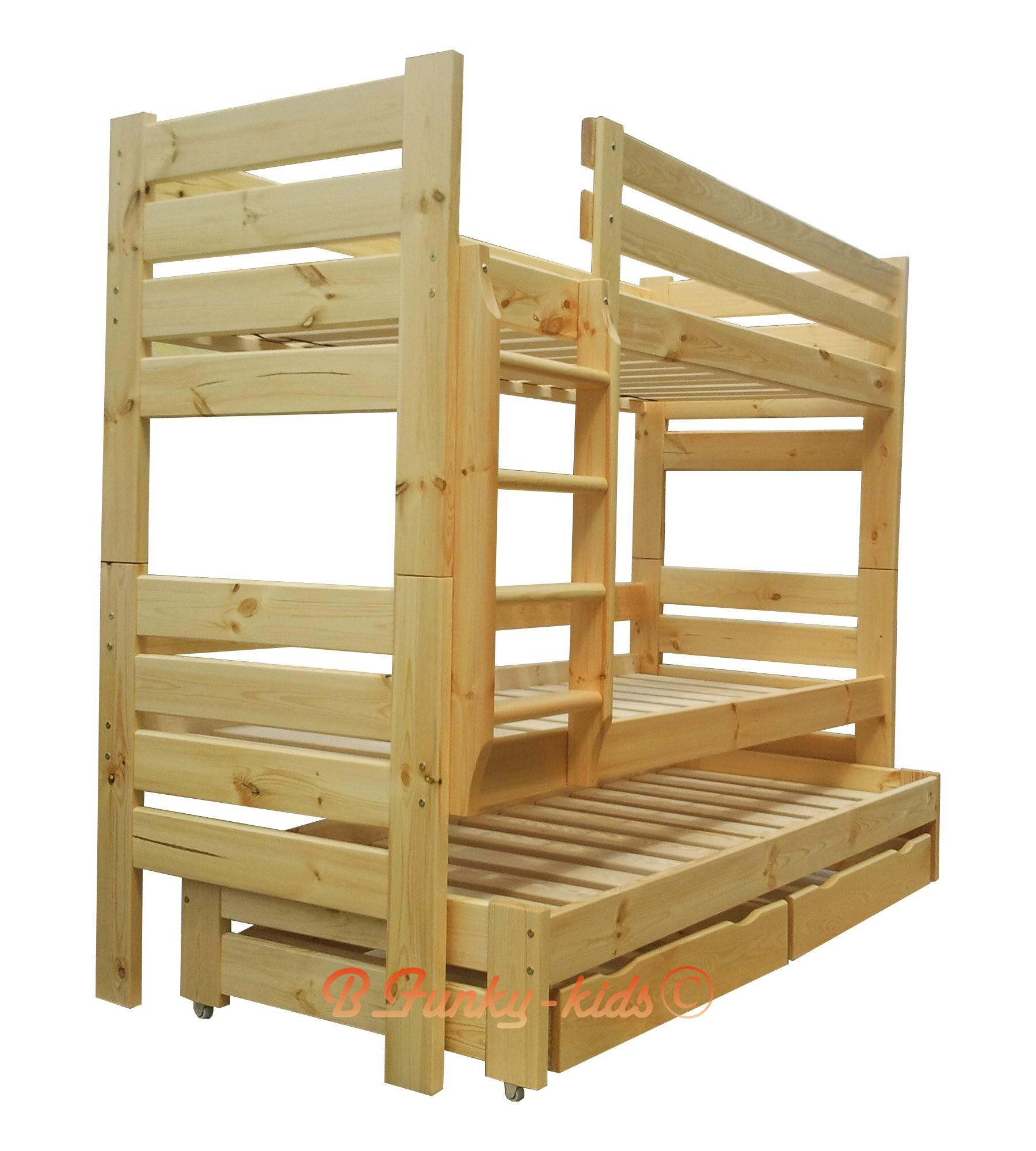 Tre Letti A Castello Scorrevoli letto a castello con estraibile in legno massello gustavo 3 con cas