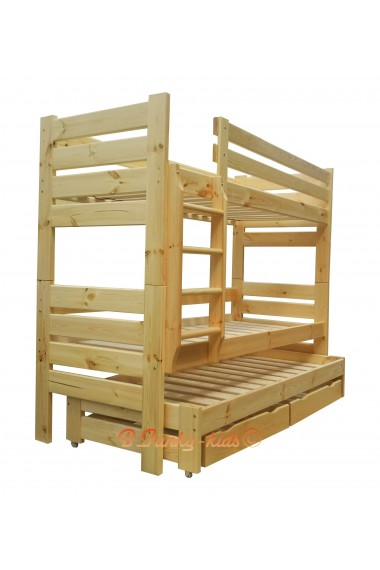 Letto a castello con estraibile in legno massello Gustavo 3 con materassi e cassetti 190x90 cm