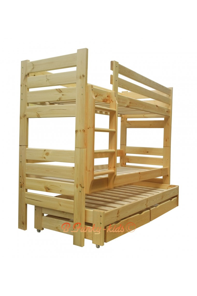 Letto a castello con estraibile in legno massello gustavo 3 con mat - Letto a castello 3 posti ...