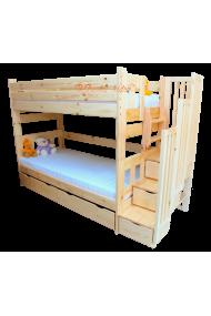 Letto a castello con scala contenitore e letto estraibile Enrique 3 posti 200x90 cm