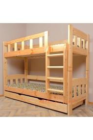 Letto a castello in legno massello Inez con cassetto 160x80 cm
