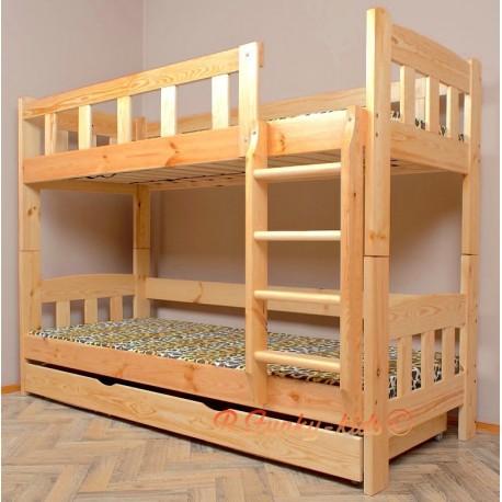Letto a castello in legno massello Inez con materassi e cassetto 180x90 cm