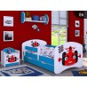 Lettino singolo Happy Blu Collezione con cassetto e materasso 140x70 cm