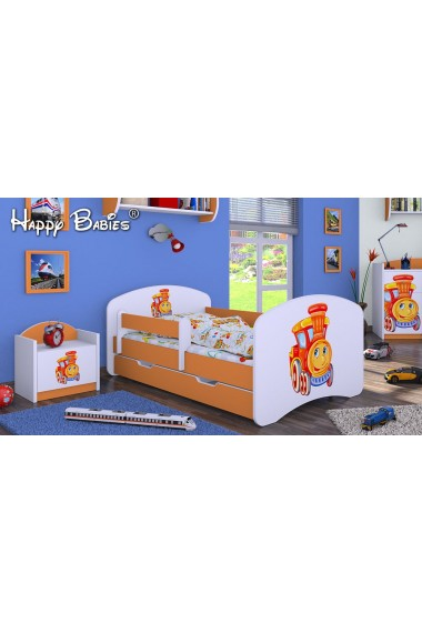 Lettino singolo Happy Arancione Collezione con cassetto e materasso 140x70 cm