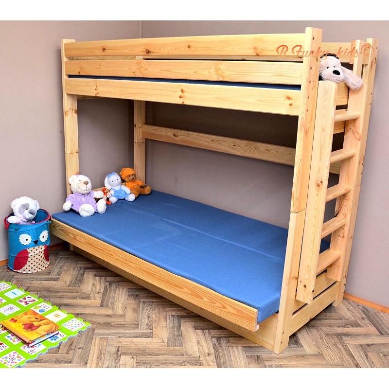 Letto a castello in legno massello carlos con materassi 200x90 e 20 - Letto a castello in legno massello ...
