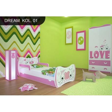 Lettino singolo Sogni Rosa Collezione con cassetto e materasso