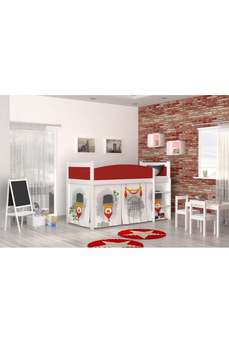 Letto a soppalco castello con materasso e tende - Tende per letto a castello ...