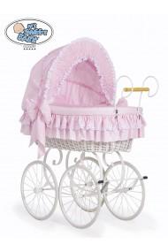 Culla vimini neonato Vintage Retro - Rosa-Bianco