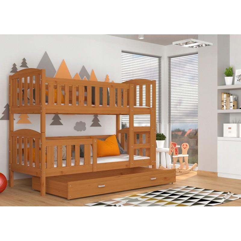 Letto a castello in legno massello jacob 2 con cassetto 190x80 cm - Letto a castello in legno massello ...